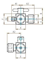 PTFE三方バルブ異径圧入型寸法図