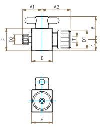 PTFE二方バルブ異径圧入型寸法図