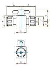 PTFE二方バルブ圧入型寸法図