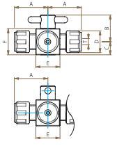 PTFE四方バルブ圧入型寸法図