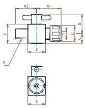PTFEオス二方バルブ圧入型寸法図