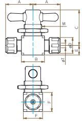 PTFE二方パネル付バルブ圧入図