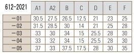 PTFEオス三方バルブ圧入型寸法表