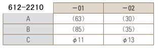 PTFEミニ ニードルバルブ 寸法表